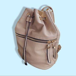 Backpack Purse Beige with adjustable straps